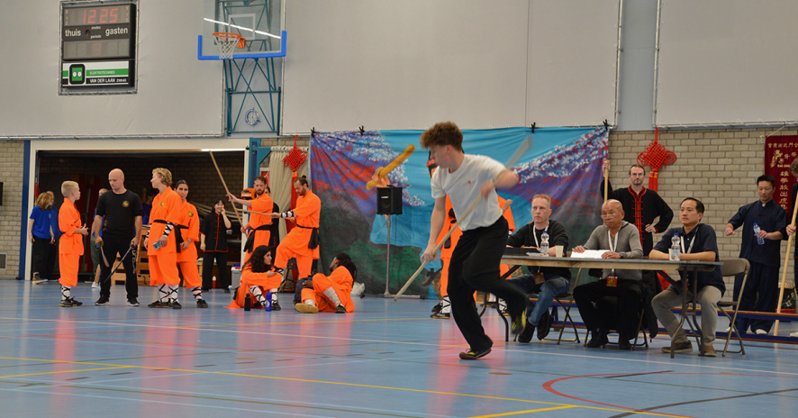 Kaeye de Boer tijdens Westfries Kungfu Kampioenschap in Hoorn