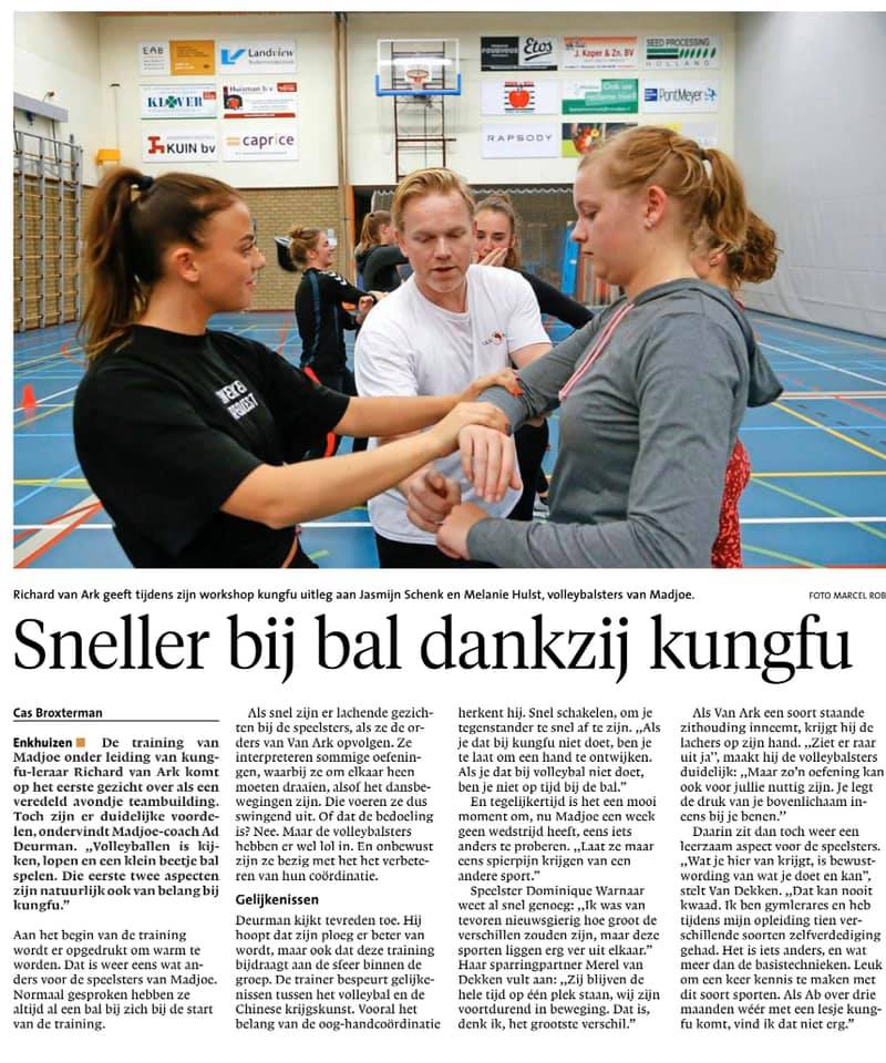 Krant artikel workshop Kungfu Madjoe